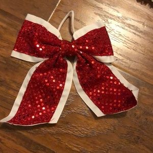 Red and white glitter cheerleading bow